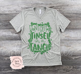 Tinsel in a Tangle Shirt - Gray V Neck | Women's Christmas Graphic Tees