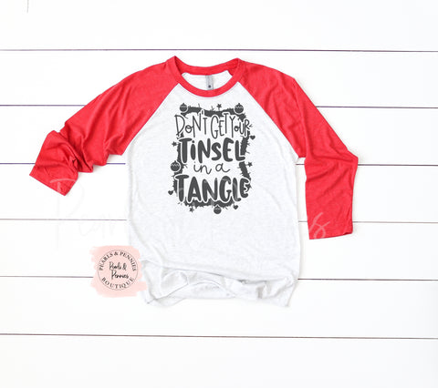 Tinsel in a Tangle Shirt - Red Raglan | Women's Christmas Graphic Tees
