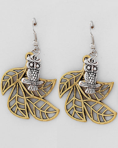 Two-tone Owl Dangles