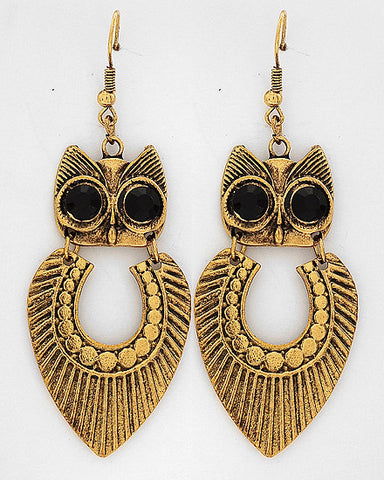 Gold Owl Dangles