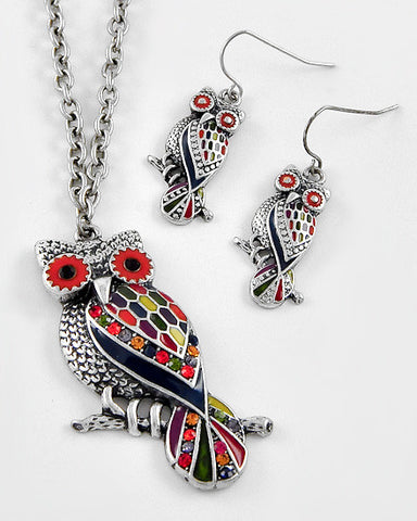 Red-Silver Multi Owl Pendant