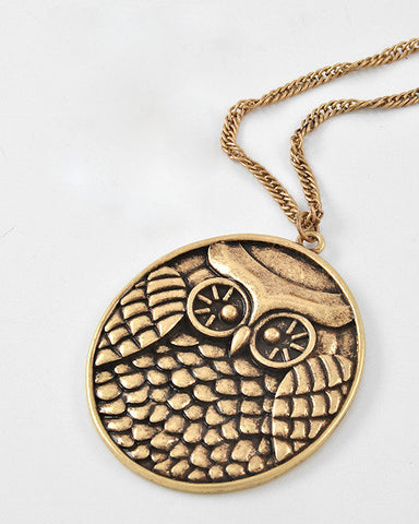 Solid Owl Pendant Necklace