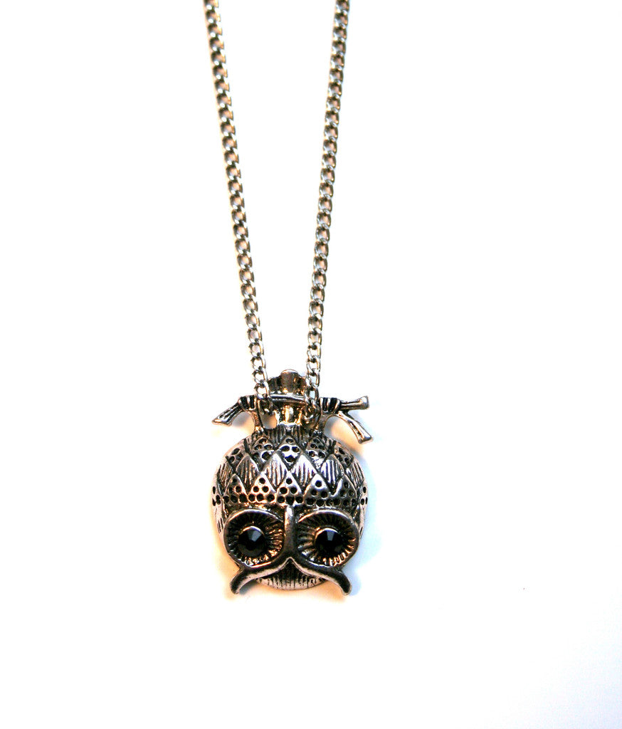 Upside-Down Owl Pendant Necklace