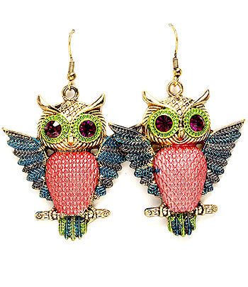 Blue-Winged Owl Earrings