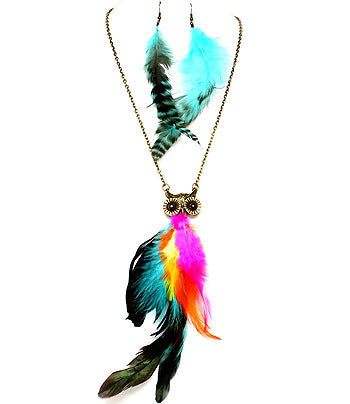 Funky Feather Owl Pendant