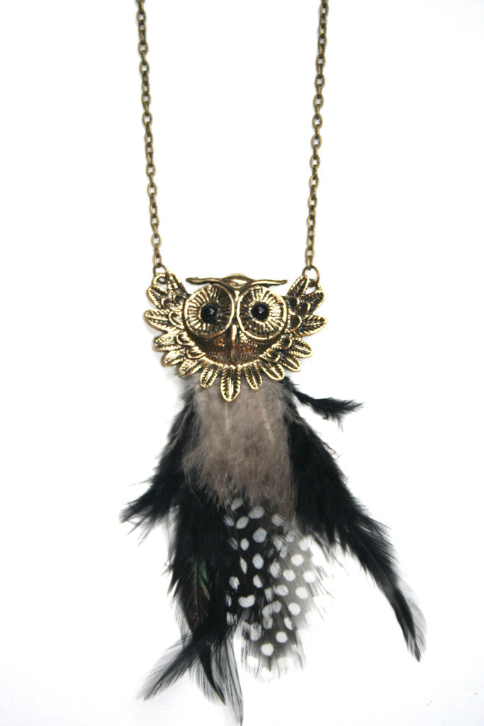 Feather Owl Pendant- gold
