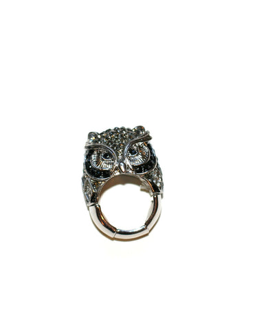 Black/Silver Owl Ring