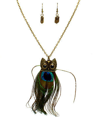 Peacock Feather Owl Pendant