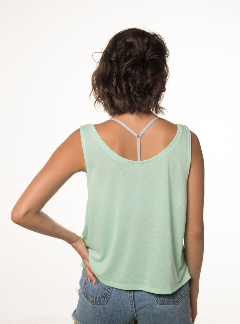 Going Coastal - Flowy Boxy Tank (Color: Mint)