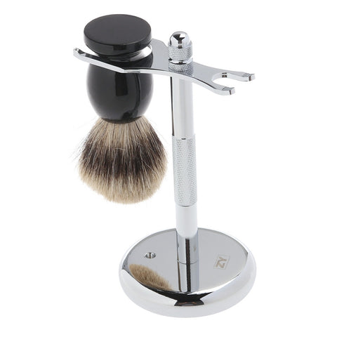 Shaving Chrome Stand Wooden Brush