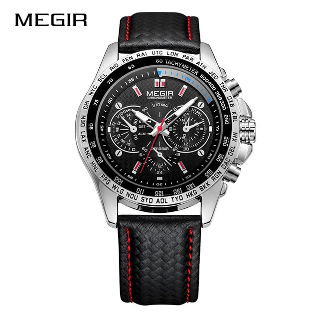 MEGIR Fashion Top Brand Sports Watches Men Leather Luxury Quartz Military Wrist Watch Waterproof Clock Male Relogios