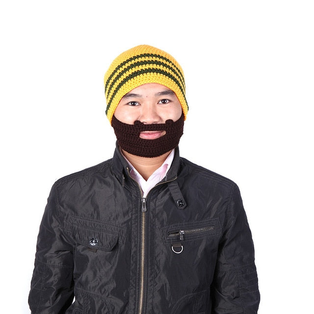 2018 Autumn Winter Knitted Beanie for Women Men Caps Beard Beanie Mustache Hat Mask Face Knit Ski Winter Cap Unisex Orange Blue