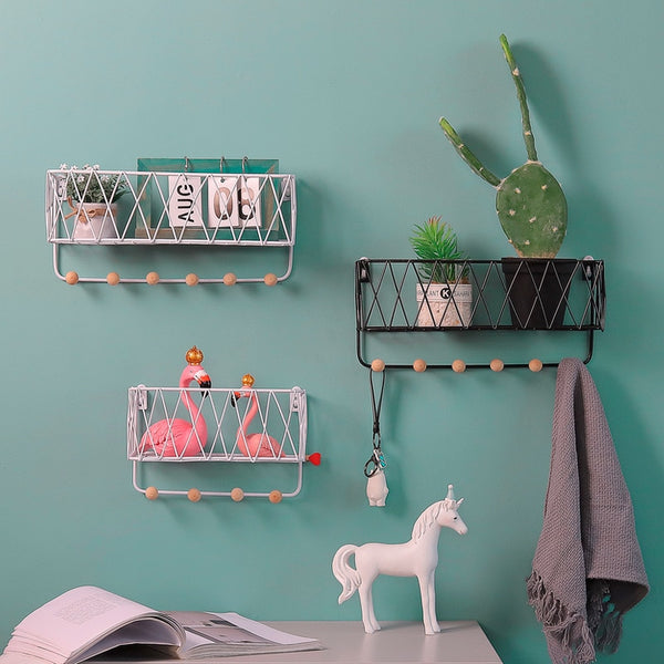 Metal Basket Shelf With Wood Hooks