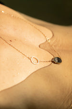 slate and circles asymmetry necklace