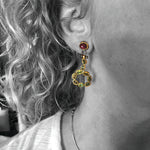garnet and tourmaline hinged earrings