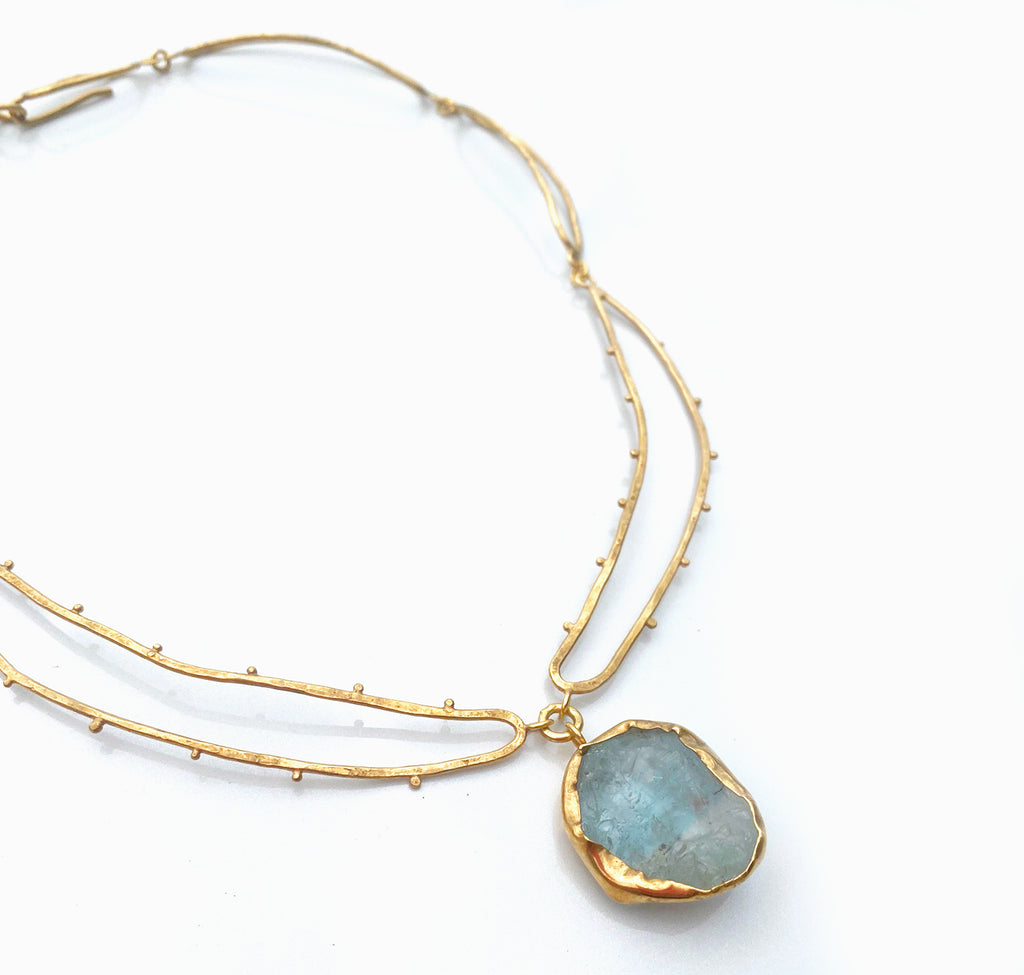 Hollow Aquamarine Necklace