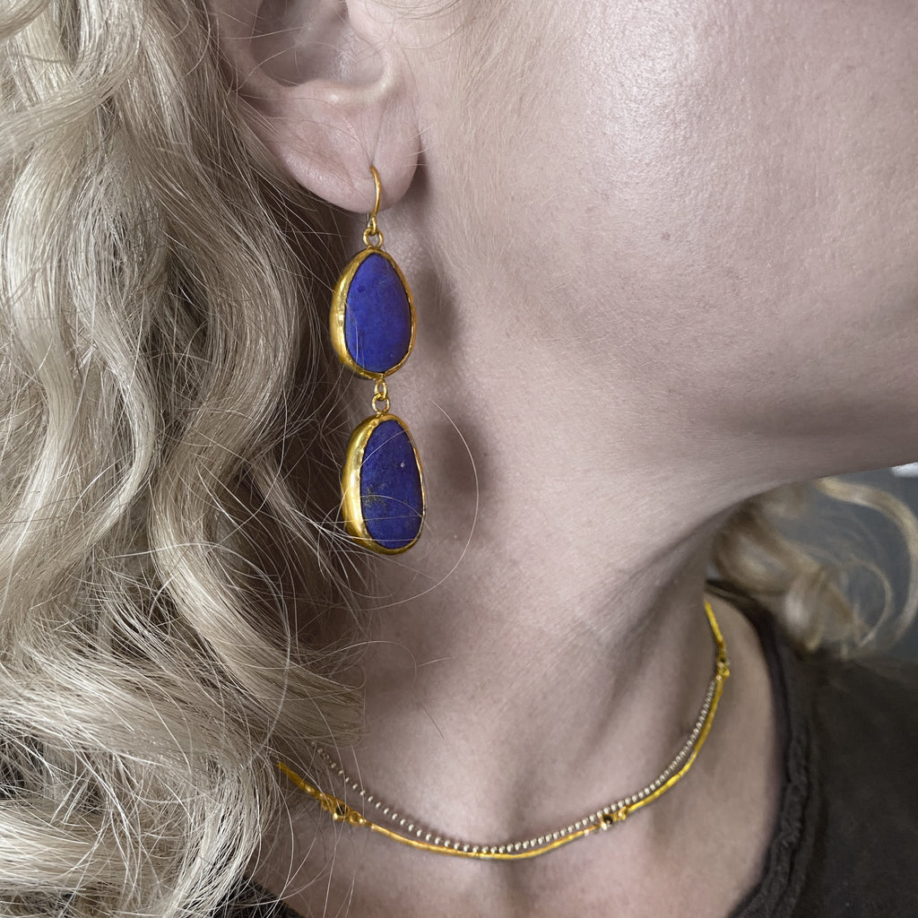 Double Lapis Drop Earrings
