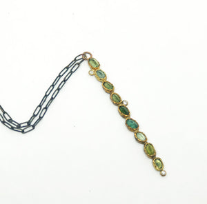 tourmaline/diamond stake necklace
