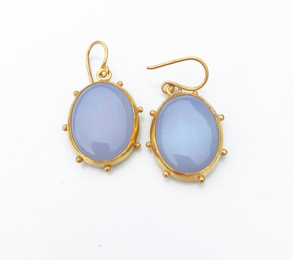 Blue chalcedony dottie earrings