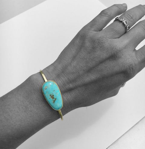 turquoise gold cuff