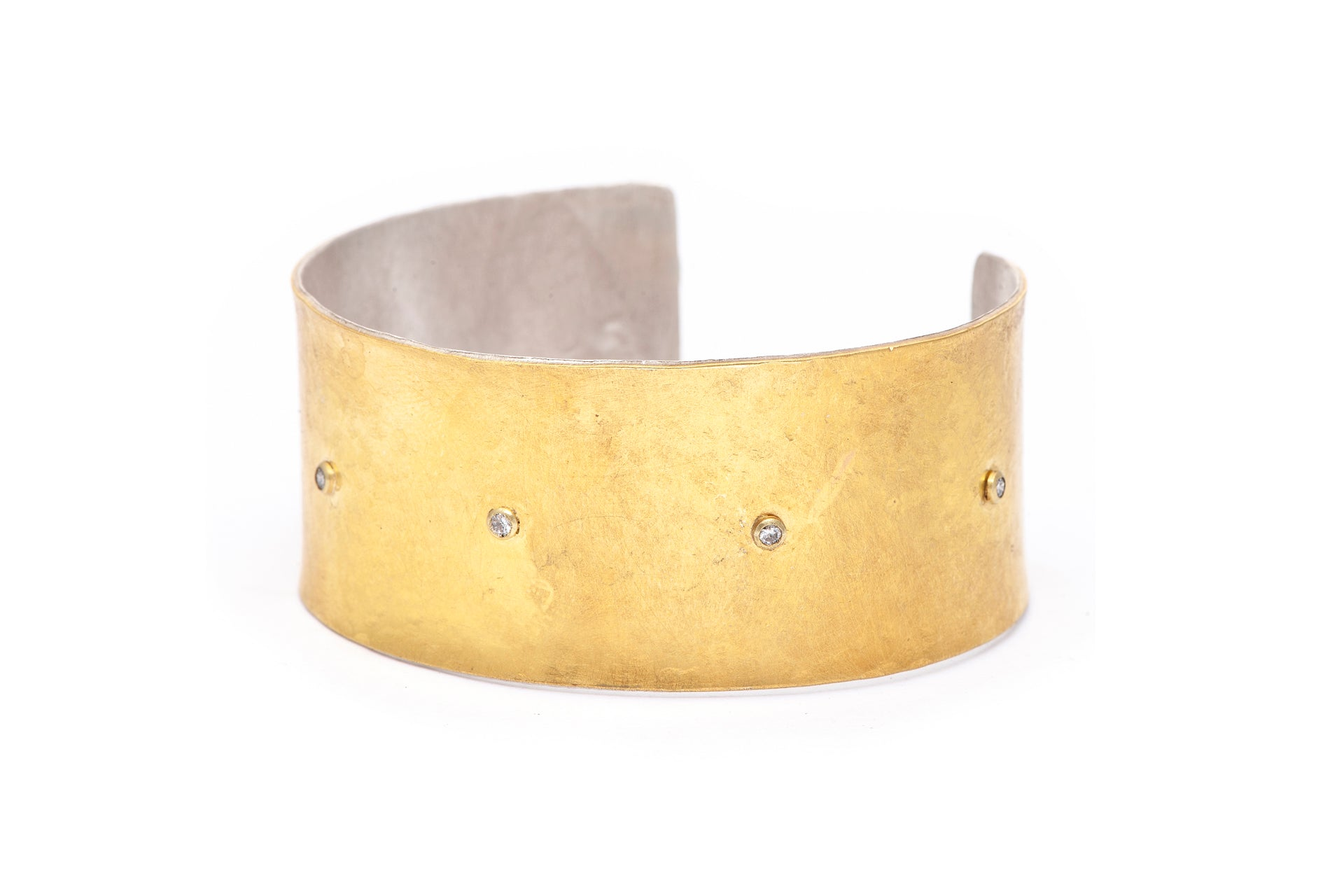 22k bi-metal cuff with diamonds