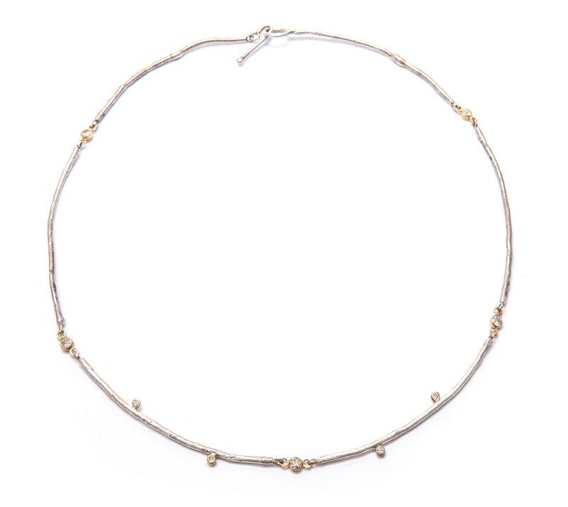 14k twig necklace with diamonds