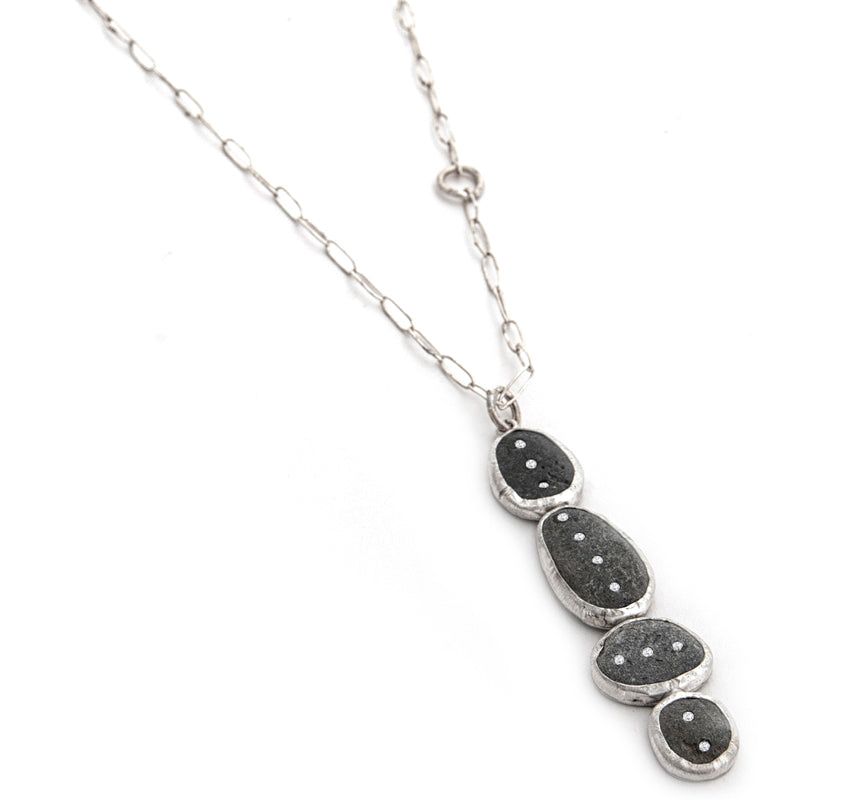 silver and slate totem necklace