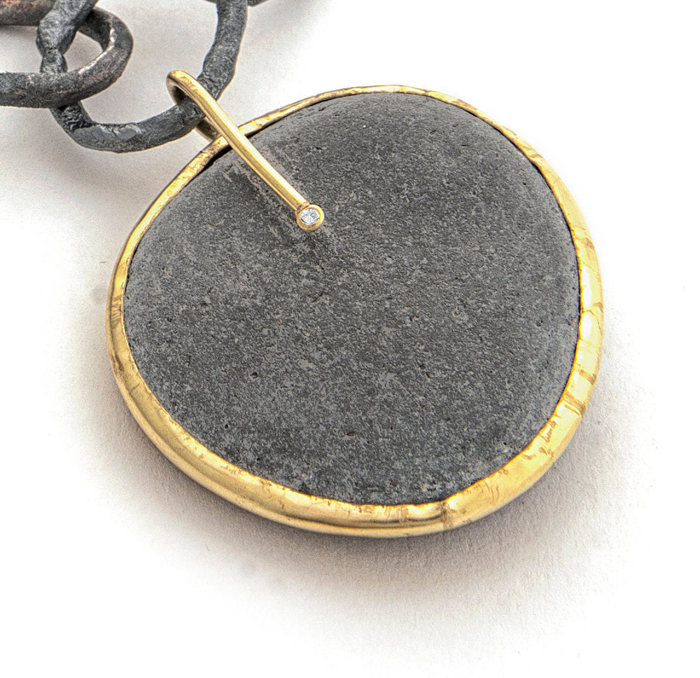 oxidized hefty chain with slate pendant
