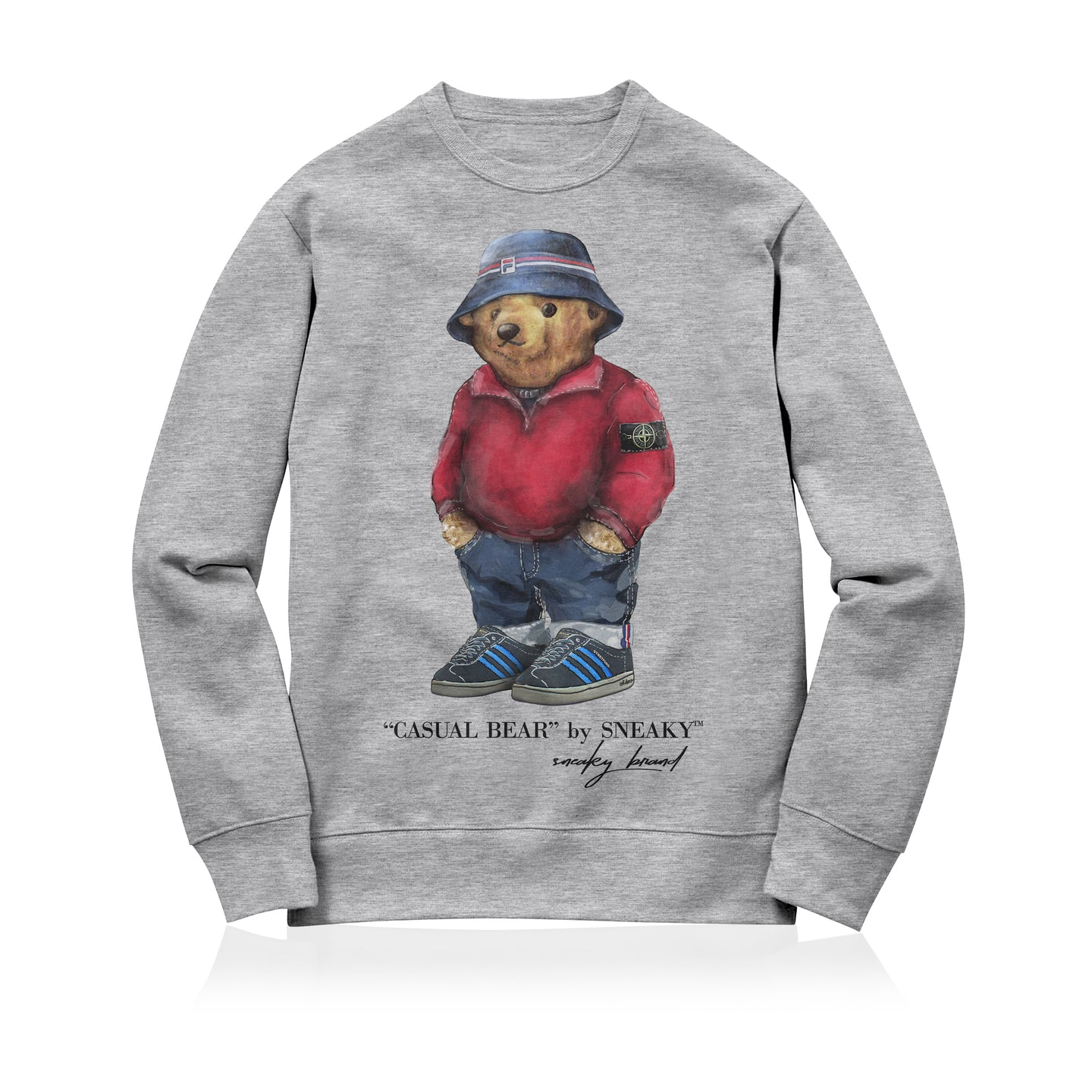 Sneaky Casual Bear Unisex Adult Sweatshirt Grey
