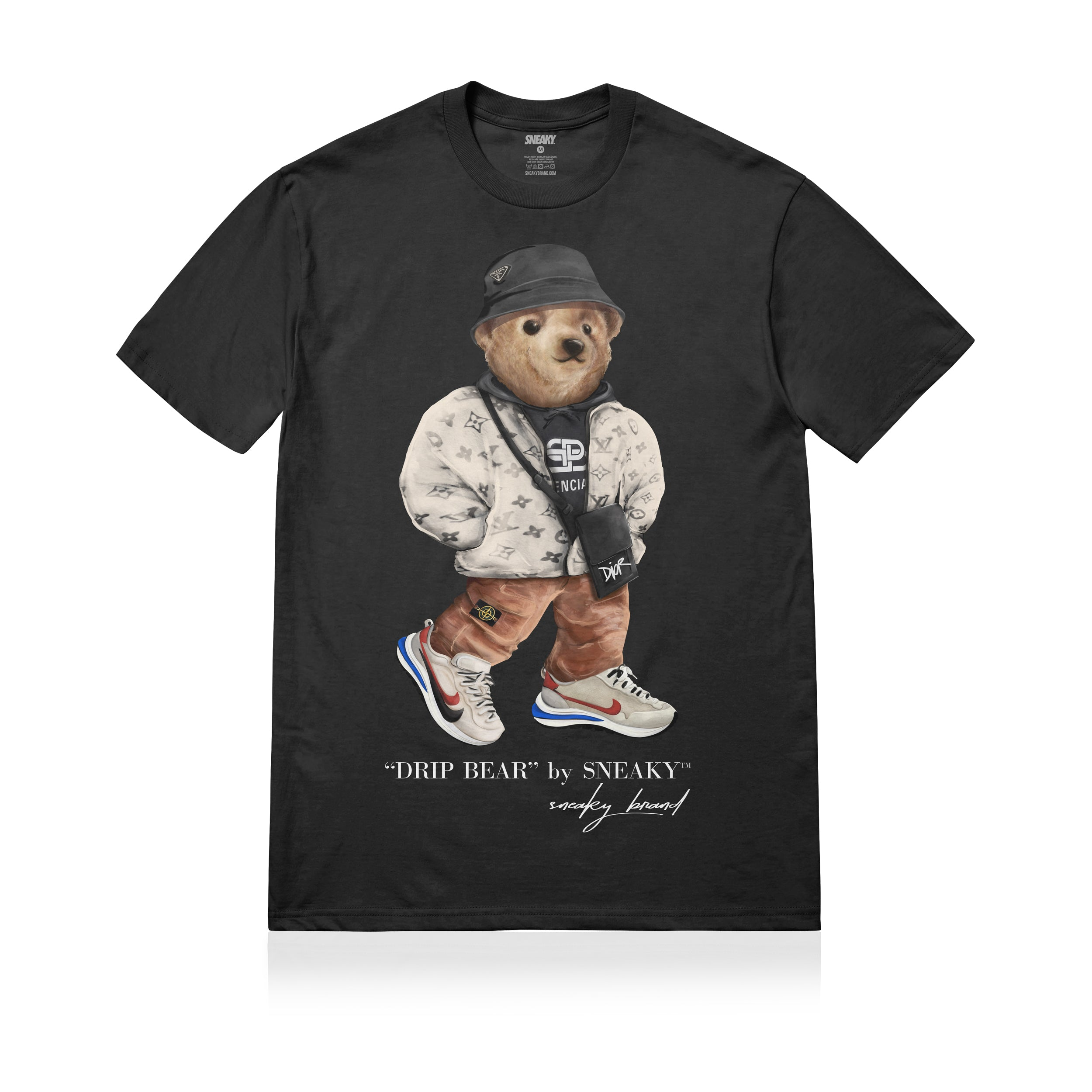 Sneaky Drip Bear Unisex Adult T-shirt Black