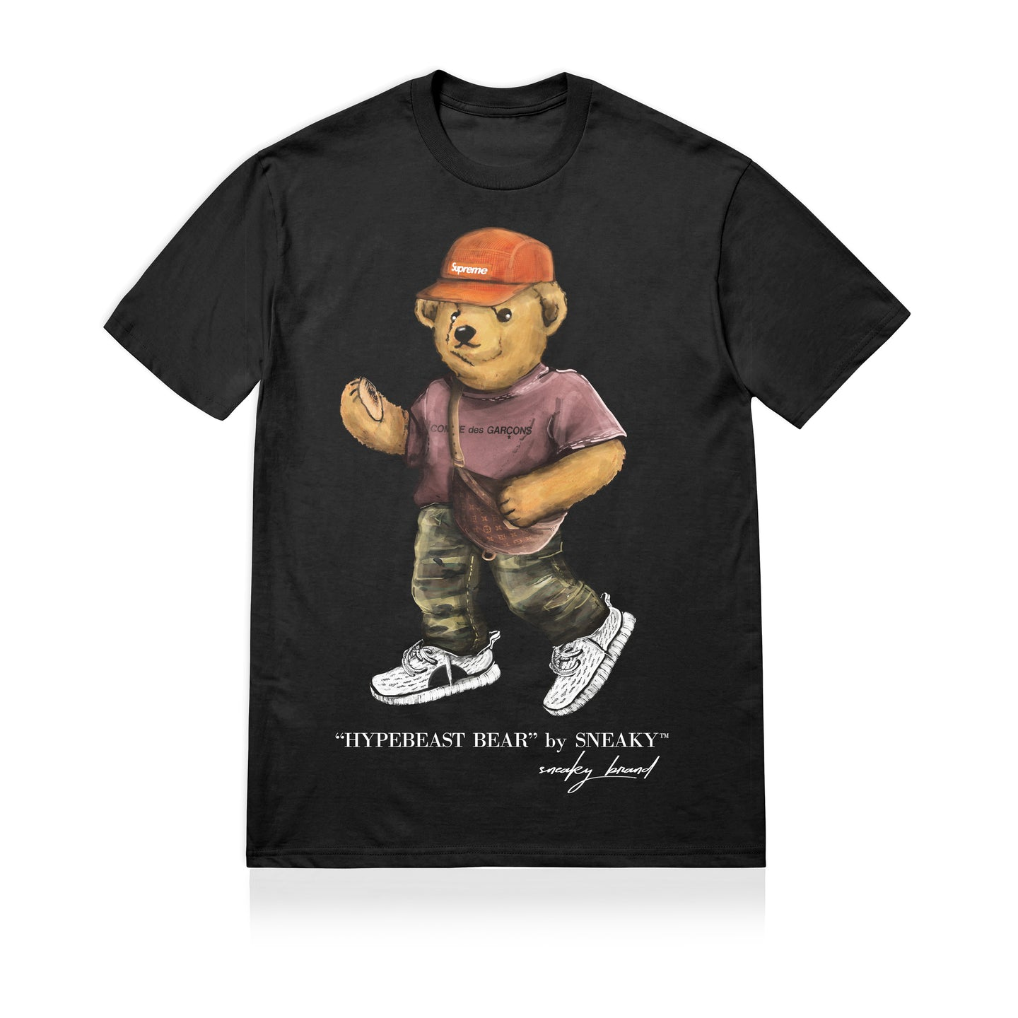 Sneaky Hypebeast Bear Unisex Adult T-shirt Black