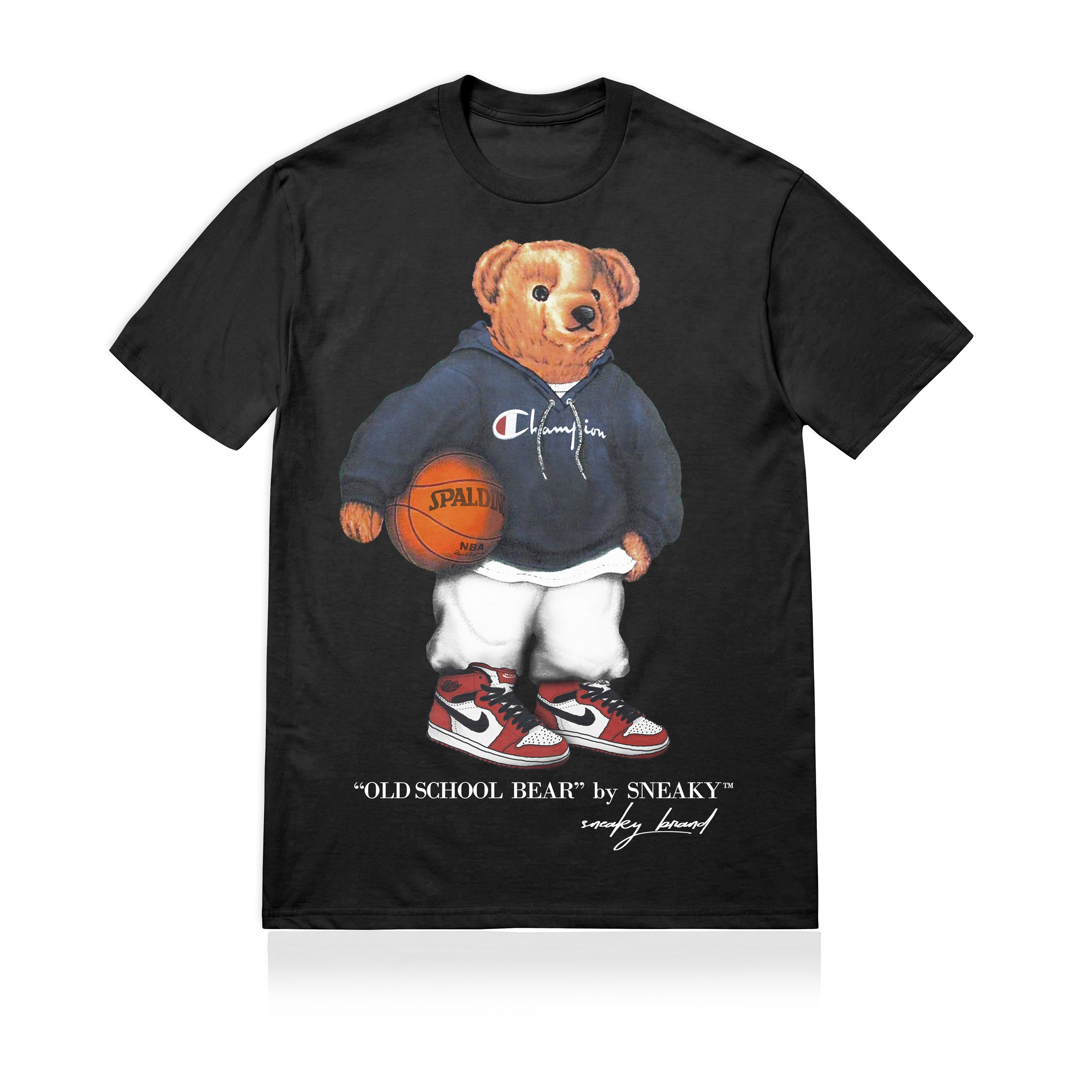 Sneaky Old Scool Bear Unisex Adult T-shirt Black