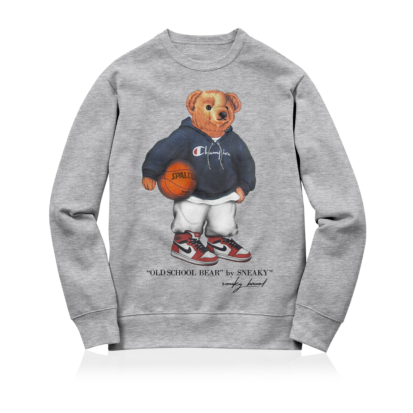 Sneaky Old School Bear Unisex Adult Sweatshirt Grey