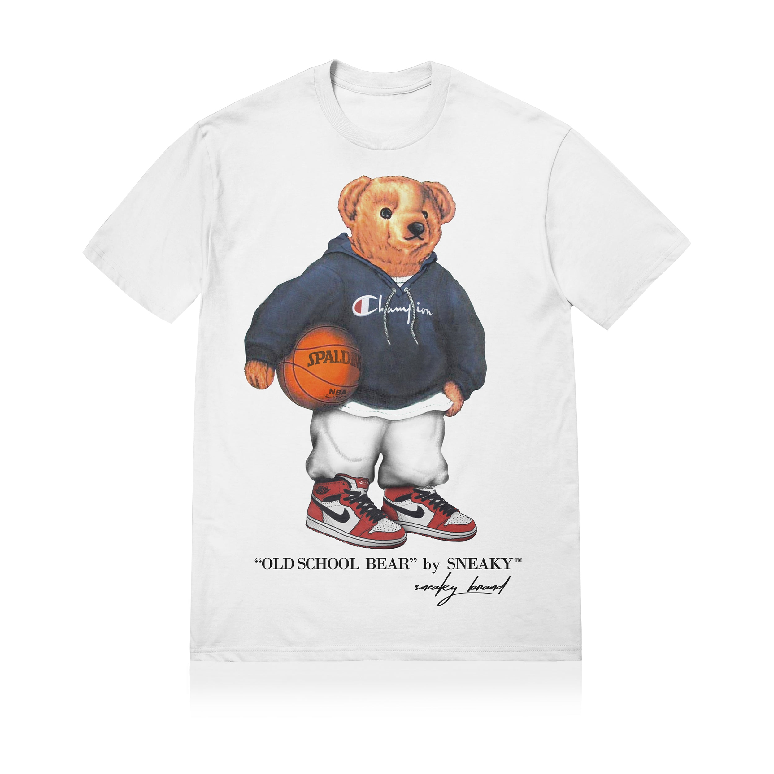 Sneaky Old School Bear Unisex Adult T-shirt White