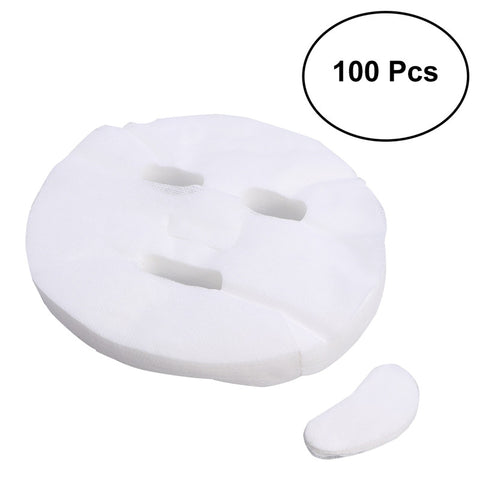 100pcs Disposable Facial Mask Pure Cotton Paper Facemask Sheet