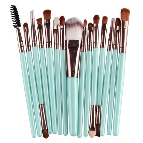 ROSALIND Professional 15 Pcs/Sets Eye Shadow Foundation Eyebrow Lip Brush Makeup Brushes Comestic Tool Make Up Eye Brushes