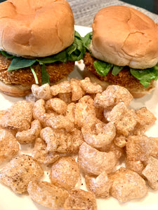 Salmon Sliders with Pork Rinds Crumbs