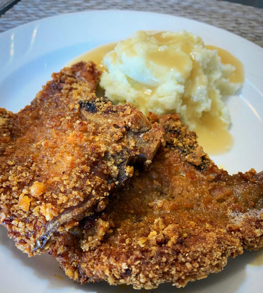 Crispy Pork Chops with Pork Rind Crumbs