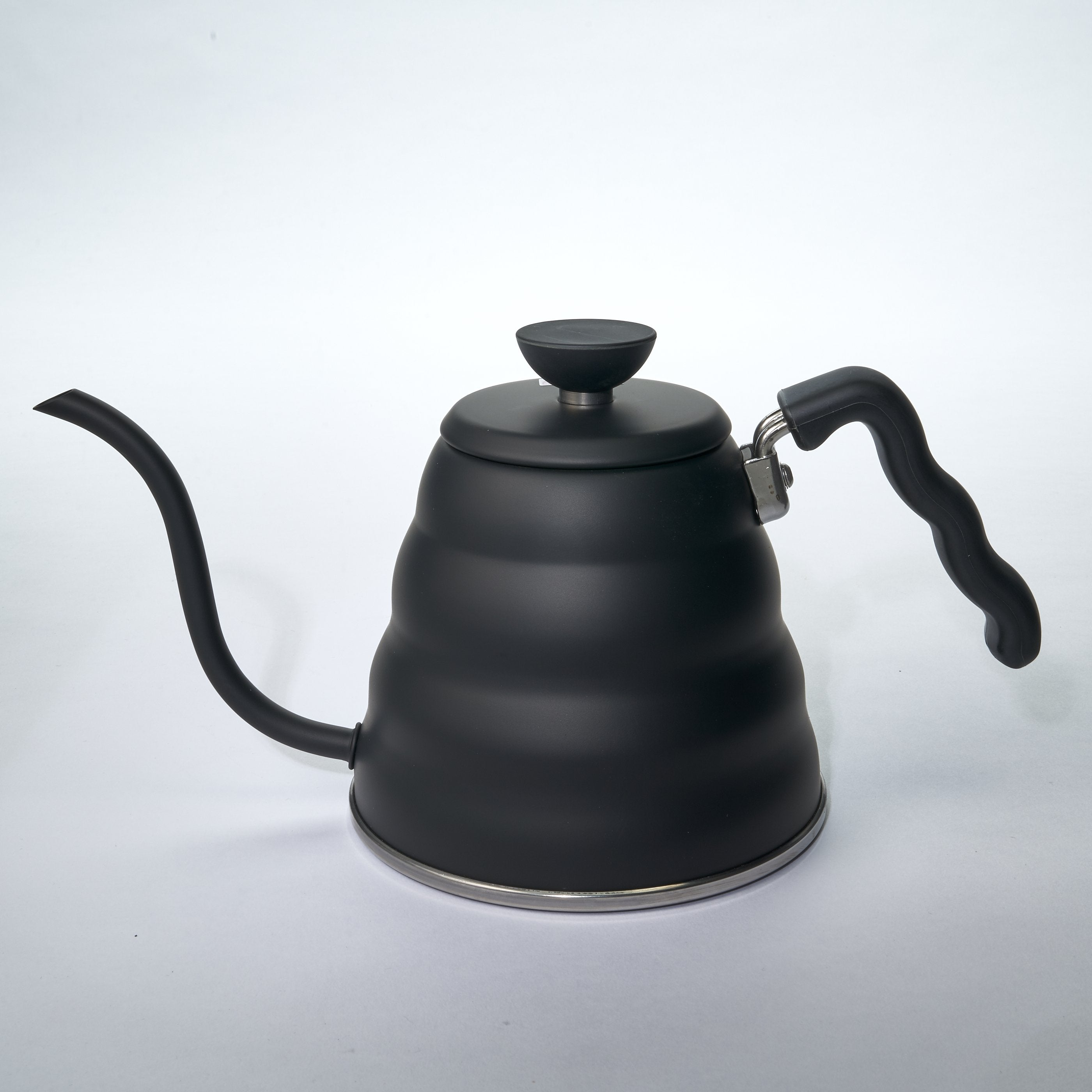 Matte Black Drip Kettle with a goose neck for more control of the pour.