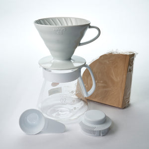 Ceramic Pour over drip coffee set with filters and scoop