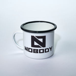 Nobody Coffee's signature enamel mug with a black rim and white body