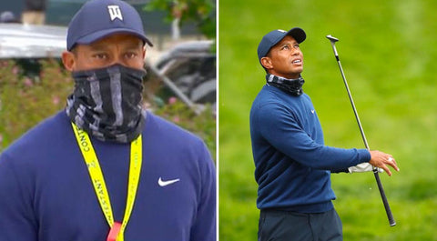 Tiger Woods in Face Shield