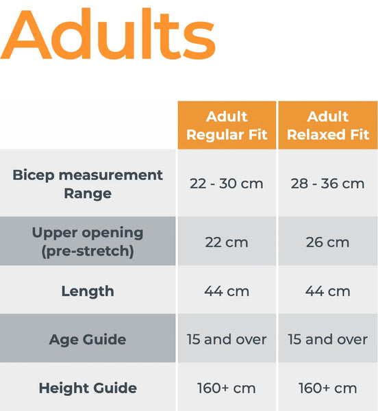 Crazy Arms adults sizing chart