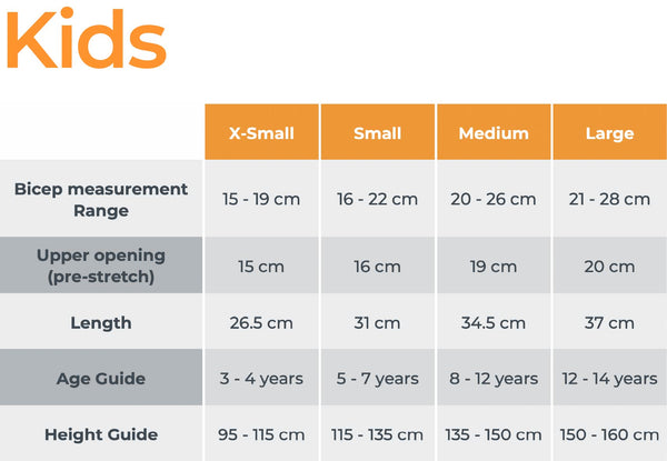 Crazy Arms kids sizing chart