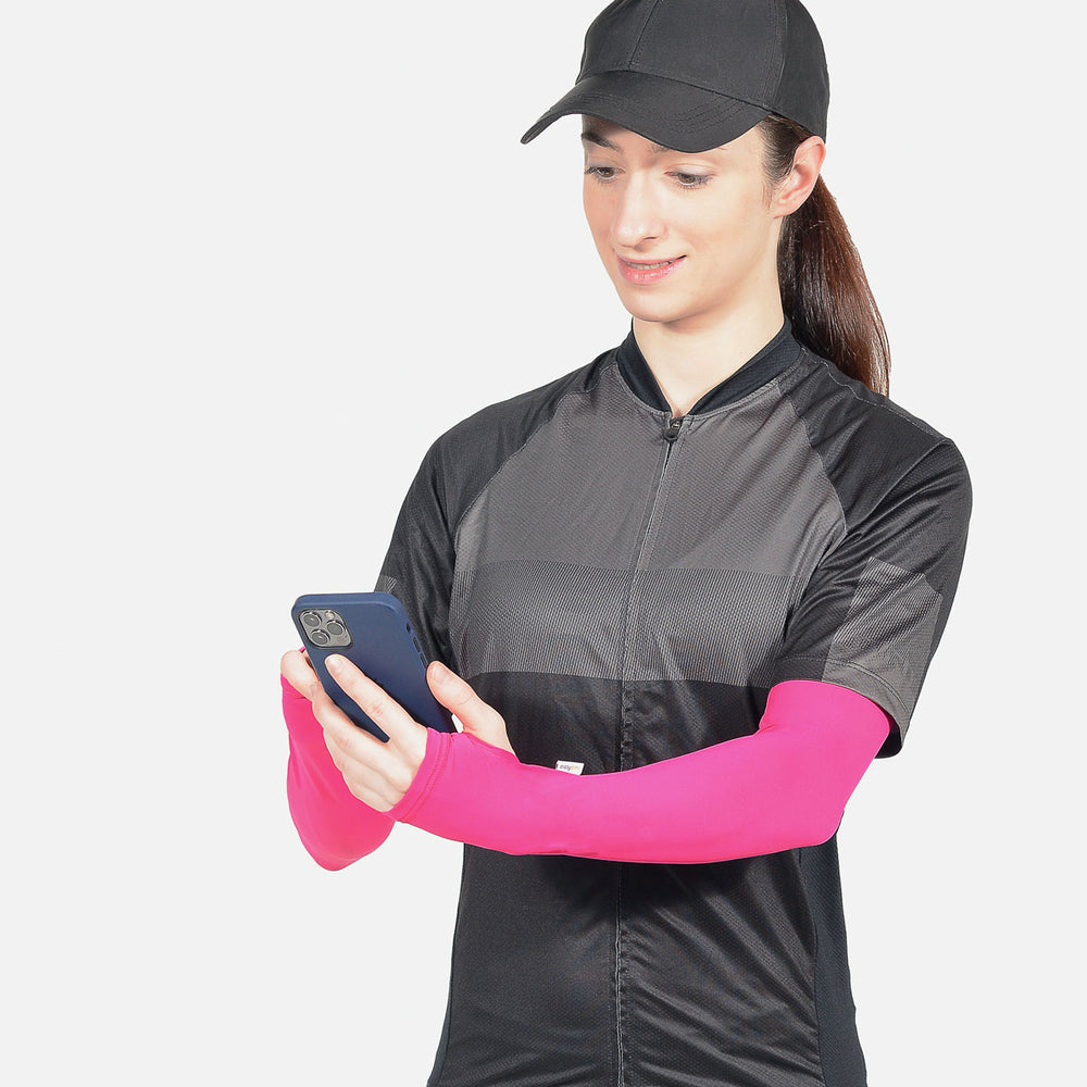 Pink Arm Sleeves with Thumbhole - Women