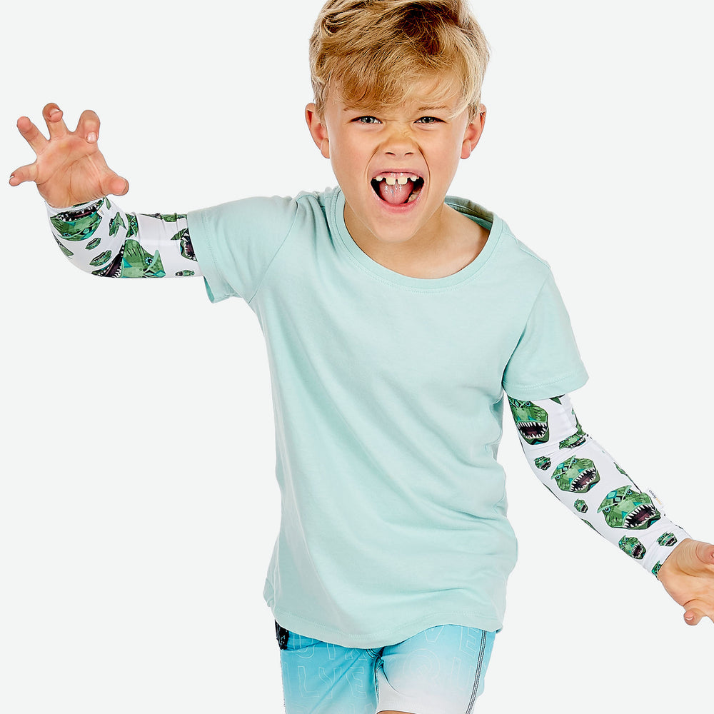 Sun protective sleeves for children - Dinosaur design