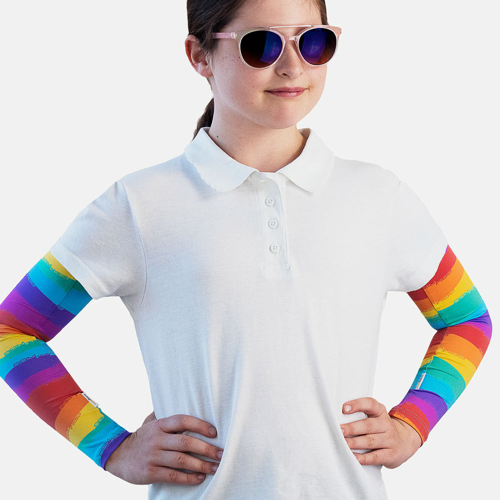 Sun protective sleeves for children - Rainbow design