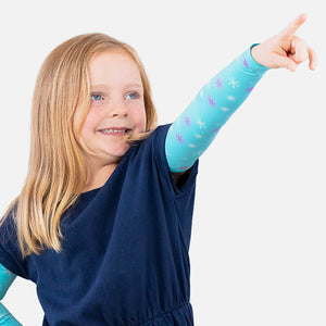 Sun protective sleeves for children - Snowflakes detail