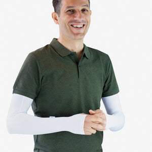 White Arm Sleeves with Thumbhole - Men