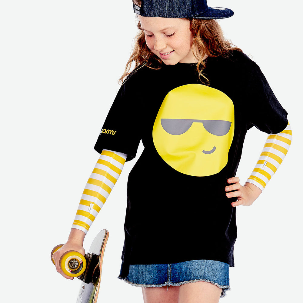 Sun protective sleeves for children - Yellow Stripe design